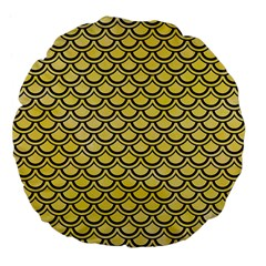 Scales2 Black Marble & Yellow Watercolor Large 18  Premium Flano Round Cushions by trendistuff