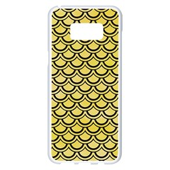 Scales2 Black Marble & Yellow Watercolor Samsung Galaxy S8 Plus White Seamless Case by trendistuff