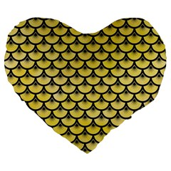 Scales3 Black Marble & Yellow Watercolor Large 19  Premium Flano Heart Shape Cushions by trendistuff