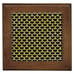 Scales3 Black Marble & Yellow Watercolor (r) Framed Tiles by trendistuff