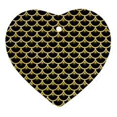 Scales3 Black Marble & Yellow Watercolor (r) Ornament (heart)