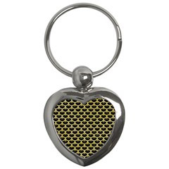 Scales3 Black Marble & Yellow Watercolor (r) Key Chains (heart)  by trendistuff