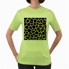 Skin1 Black Marble & Yellow Watercolor Women s Green T Shirt by trendistuff