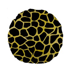 Skin1 Black Marble & Yellow Watercolor Standard 15  Premium Flano Round Cushions by trendistuff