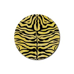 Skin2 Black Marble & Yellow Watercolor Rubber Coaster (round)