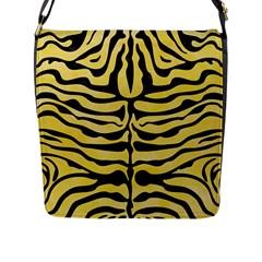 Skin2 Black Marble & Yellow Watercolor Flap Messenger Bag (l)  by trendistuff