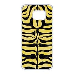 Skin2 Black Marble & Yellow Watercolor Samsung Galaxy S7 Edge White Seamless Case by trendistuff