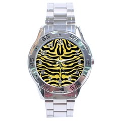 Skin2 Black Marble & Yellow Watercolor (r) Stainless Steel Analogue Watch by trendistuff