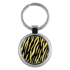 Skin3 Black Marble & Yellow Watercolor (r) Key Chains (round)  by trendistuff