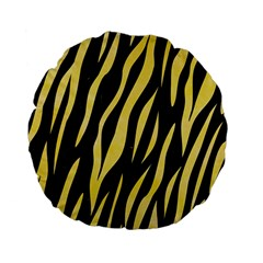 Skin3 Black Marble & Yellow Watercolor (r) Standard 15  Premium Flano Round Cushions by trendistuff
