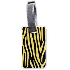 Skin4 Black Marble & Yellow Watercolor Luggage Tags (two Sides) by trendistuff