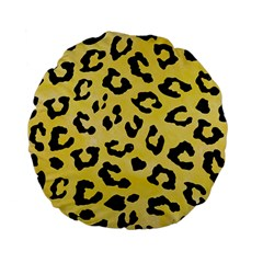 Skin5 Black Marble & Yellow Watercolor (r) Standard 15  Premium Flano Round Cushions by trendistuff