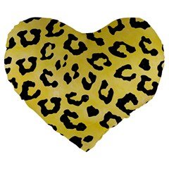 Skin5 Black Marble & Yellow Watercolor (r) Large 19  Premium Flano Heart Shape Cushions by trendistuff