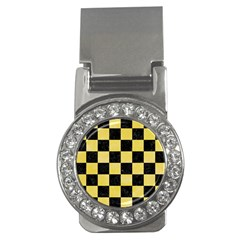 Square1 Black Marble & Yellow Watercolor Money Clips (cz)  by trendistuff