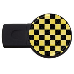 Square1 Black Marble & Yellow Watercolor Usb Flash Drive Round (2 Gb) by trendistuff