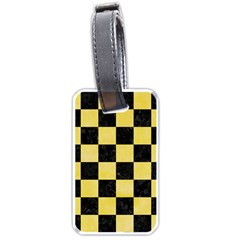 Square1 Black Marble & Yellow Watercolor Luggage Tags (two Sides) by trendistuff