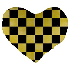 Square1 Black Marble & Yellow Watercolor Large 19  Premium Flano Heart Shape Cushions by trendistuff