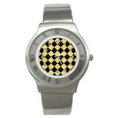 Square2 Black Marble & Yellow Watercolor Stainless Steel Watch by trendistuff