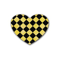 Square2 Black Marble & Yellow Watercolor Heart Coaster (4 Pack)  by trendistuff