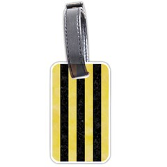 Stripes1 Black Marble & Yellow Watercolor Luggage Tags (two Sides) by trendistuff
