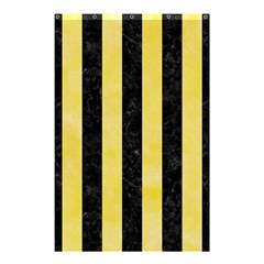 Stripes1 Black Marble & Yellow Watercolor Shower Curtain 48  X 72  (small)  by trendistuff