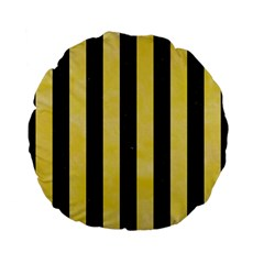 Stripes1 Black Marble & Yellow Watercolor Standard 15  Premium Flano Round Cushions by trendistuff