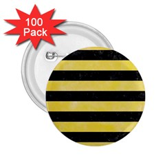 Stripes2 Black Marble & Yellow Watercolor 2 25  Buttons (100 Pack)  by trendistuff