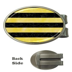 Stripes2 Black Marble & Yellow Watercolor Money Clips (oval)  by trendistuff