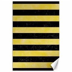 Stripes2 Black Marble & Yellow Watercolor Canvas 24  X 36  by trendistuff
