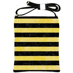 Stripes2 Black Marble & Yellow Watercolor Shoulder Sling Bags by trendistuff