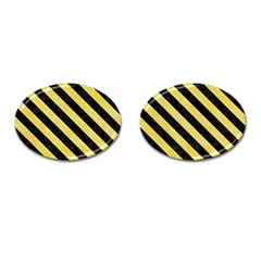 Stripes3 Black Marble & Yellow Watercolor Cufflinks (oval) by trendistuff