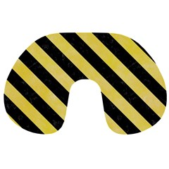 Stripes3 Black Marble & Yellow Watercolor Travel Neck Pillows by trendistuff