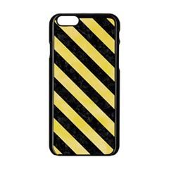 Stripes3 Black Marble & Yellow Watercolor Apple Iphone 6/6s Black Enamel Case by trendistuff