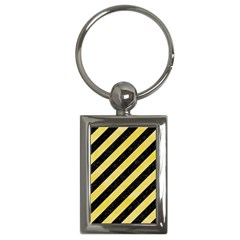 Stripes3 Black Marble & Yellow Watercolor (r) Key Chains (rectangle)  by trendistuff