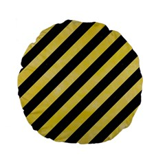 Stripes3 Black Marble & Yellow Watercolor (r) Standard 15  Premium Flano Round Cushions by trendistuff