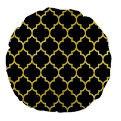 Tile1 Black Marble & Yellow Watercolor (r) Large 18  Premium Flano Round Cushions by trendistuff