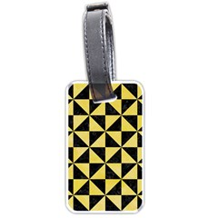 Triangle1 Black Marble & Yellow Watercolor Luggage Tags (two Sides) by trendistuff