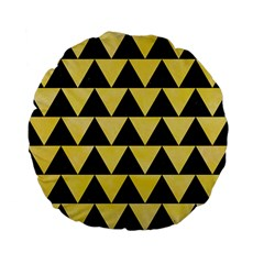 Triangle2 Black Marble & Yellow Watercolor Standard 15  Premium Flano Round Cushions by trendistuff