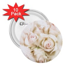 Pastel Roses Antique Vintage 2 25  Buttons (10 Pack)  by Celenk