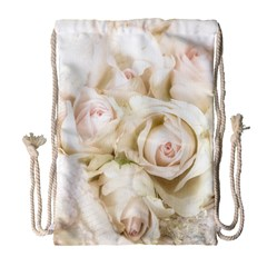 Pastel Roses Antique Vintage Drawstring Bag (large) by Celenk