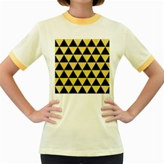Triangle3 Black Marble & Yellow Watercolor Women s Fitted Ringer T Shirts by trendistuff