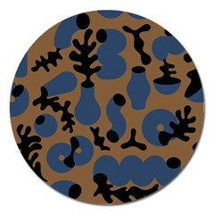 Superfiction Object Blue Black Brown Pattern Magnet 5  (round) by Mariart