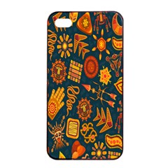 Tribal Ethnic Blue Gold Culture Apple Iphone 4/4s Seamless Case (black) by Mariart