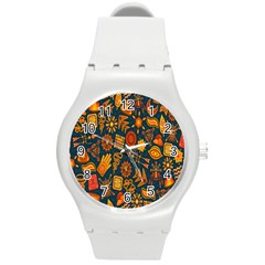 Tribal Ethnic Blue Gold Culture Round Plastic Sport Watch (m) by Mariart