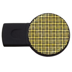Woven1 Black Marble & Yellow Watercolor Usb Flash Drive Round (2 Gb) by trendistuff