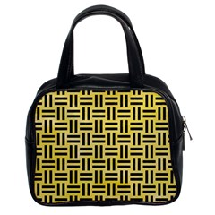 Woven1 Black Marble & Yellow Watercolor Classic Handbags (2 Sides) by trendistuff