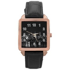 New York Skyline Rose Gold Leather Watch