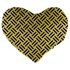 Woven2 Black Marble & Yellow Watercolor Large 19  Premium Flano Heart Shape Cushions by trendistuff