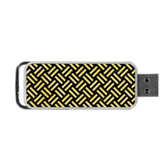 Woven2 Black Marble & Yellow Watercolor (r) Portable Usb Flash (two Sides) by trendistuff
