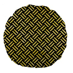 Woven2 Black Marble & Yellow Watercolor (r) Large 18  Premium Flano Round Cushions by trendistuff